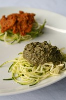 Raw Pasta with Marinara and Pesto